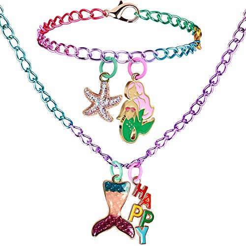 vamei 2 Piezas Joyas Niña Pulsera Collar Amistad con Sirena Estrella de Mar Happy Colgante Princesa Joyería Kit Cumpleaños Fiesta Regalo para Niñas