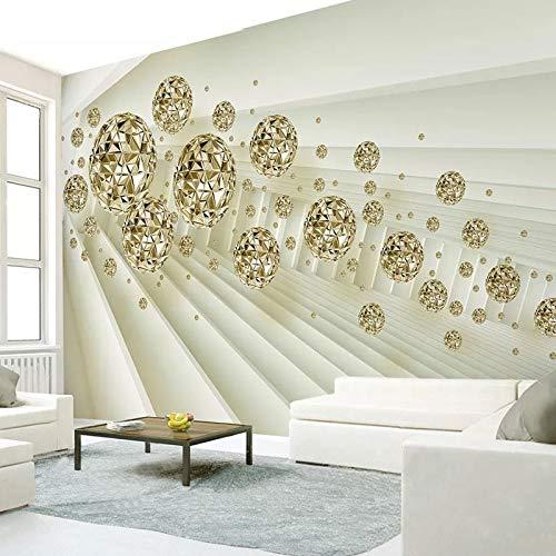 3D espacio abstracto bola dorada Mural papel tapiz sala de estar TV Fondo pared lujo decoración del hogar pegatinas impermeables, 350cm×245cm