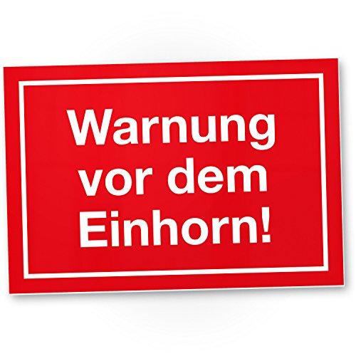 DankeDir! Warnung vor dem Einhorn Kunststoff Schild lustiges Einhornschild - süße Deko Wanddeko - Türschild Mädchen Wohnung Zimmer - Geschenkidee süßes Geschenk