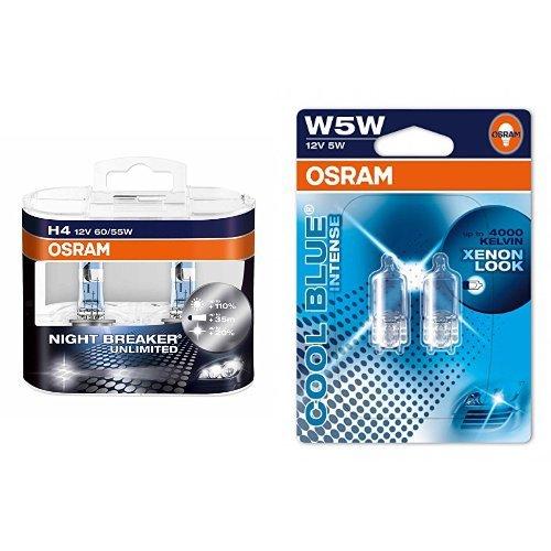 OSRAM H4 Night Breaker Unlimited Halogen-Scheinwerfer Duobox und W5W Cool Blue Intense Standlicht, je 2 Lampen