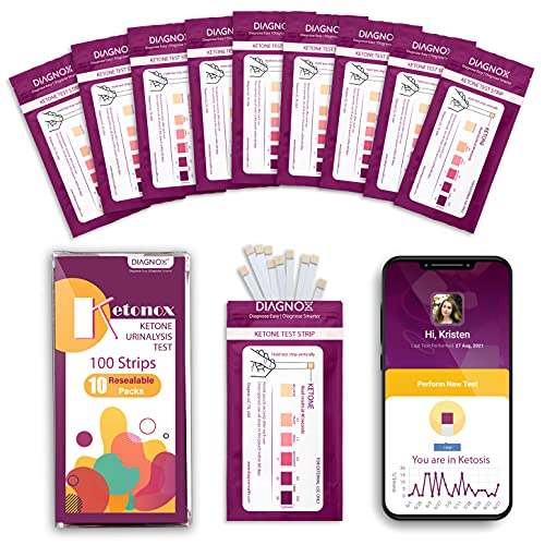 Keto Test Strips in Resealable Pouches with Free Mobile App | Best for Testing Ketones in Urine on Low Carb Ketogenic Diet | Med Grade Home Urinalysis Test Kit [100 Ct]