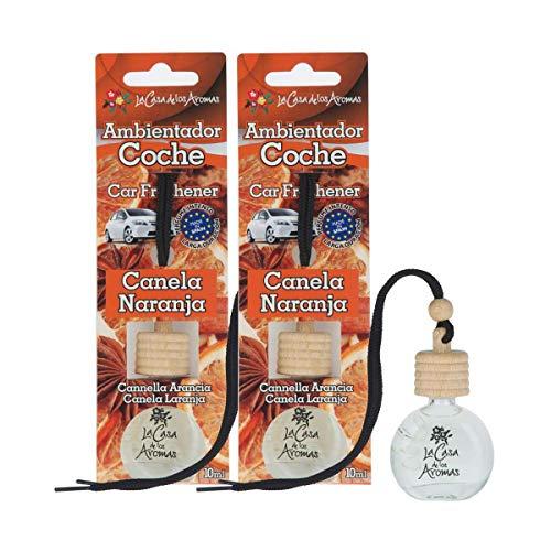 Ambientador Coche a Colgar Aroma , Botella 10 ml de líquido para Coche, tapón de Madera, Fabricado en España (Pack de 2 Canela Naranja)
