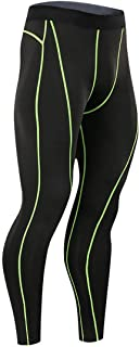 KRUIHAN Mens Cool Dry Baselayer Leggings - Sport Compression Pants Lightweight Gym Tights Thermal Trousers