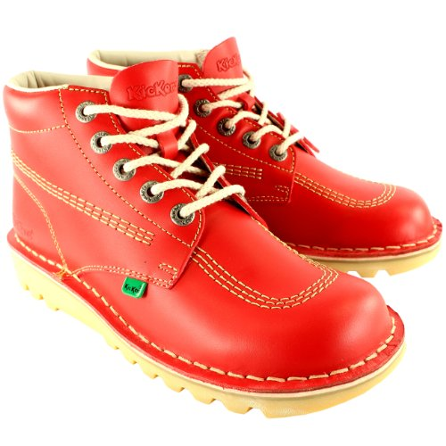 Kickers Unisex Kids Junior Kick Hi Back to School Leather Boot Shoes - Red - 3.5