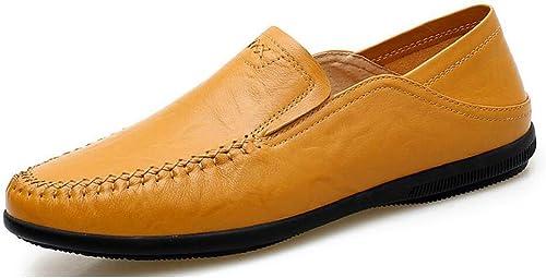 Herren Comfort Loafers Leder Frühjahr Herbst Modische Loafer & Slip-Ons Treibende Faule Schuhe SchwarzGelb Braun Rotbraun (Farbe   B, Größe   43)