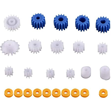 Kit de 26pcs Roues Dentées Engrenages de Broche en Plastique Accessoires de Bricolage 2mm/2.3mm/3mm/3.17mm/4mm