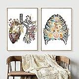 Rosa flores anatomía esqueleto corazón pared arte lienzo pintura carteles nórdicos e impresiones cuadros de pared para decoración de sala de estar / 40x60cmx2 sin marco
