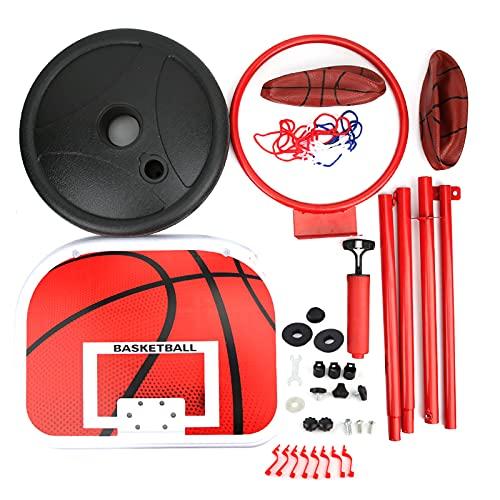 needlid Tablero de Baloncesto al Aire Libre, Soporte de Baloncesto de Metal Rojo para niños, Equipo de Entrenamiento de 170 cm, Kit de Juego de Baloncesto para Entrenamiento de Baloncesto, Juego de
