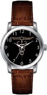 JLS Creative Watches Men's Vintage Design Leather Brown Band Wrist Watch Art Deco Caduceus Wristwatches