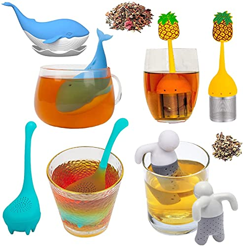 Tea Infusers for Loose Tea, 4-Pack Fine Mesh Tea Diffuser For Loose Leaf Tea Steeper, Cute Animal Tea Strainer for More Enjoyable Tea Times with Friends and Family, Multi Styles