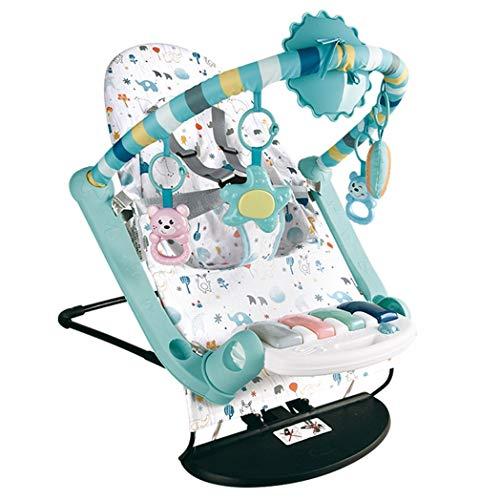 JCSW Balancin Bebe Columpios Infantiles, Vibraciones Relajantes, Hamaca Bebe con Sistema Balancín y Reductor, Cosas para Bebes Columpio Bebe de 0 a 18 kg, Azul, g006jy