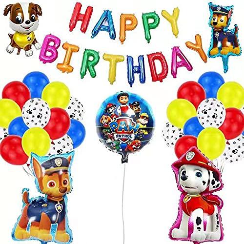 Juego de decoración de cumpleaños de La Patrulla Canina, de aluminio, con globos, todo lo bueno para la decoración de cumpleaños