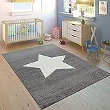 Paco Home Alfombra Habitación Infantil Niño Niña Moderna Gran Estrella En Gris Blanco, tamaño:120x170 cm