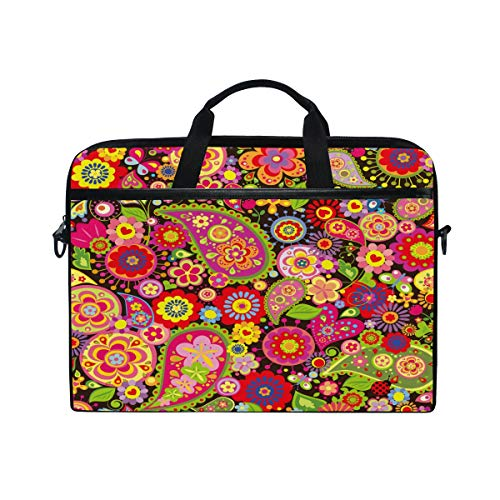 HaJie Laptop Bag Tribal Colorful Paisley Flower Computer Case 14-14.5 in Protective Bag Travel Briefcase with Shoulder Strap for Men Women Boy Girls
