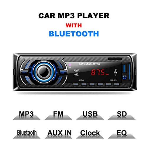 ZYElroy 523 Radio de Coche Bluetooth Audio estéreo FM Reproductor MP3 en el Tablero 1 Receptor USB AUX DIN SD 12 V Radio de Coche del Jugador
