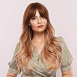 Emmor peluca rubia larga pelucas onduladas sintéticas de pelo natural para mujeres con pelucas completas de parte media de uso diario