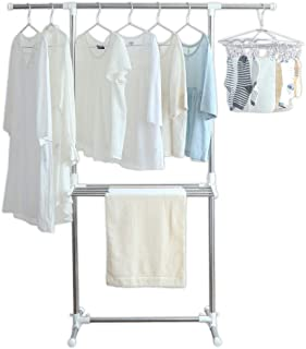 アイリスオーヤマ 洗濯物干し 室内物干し 幅約79~120×奥行約53×高さ約90~150㎝ 組み立て簡単 ステンレス H-78SHN