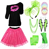 Z-Shop 80s Outfits Costume Accessories for Women - Pink Lips Print Off Shoulder T-Shirt,Lace Skirt for 80s Costumes,Green,L