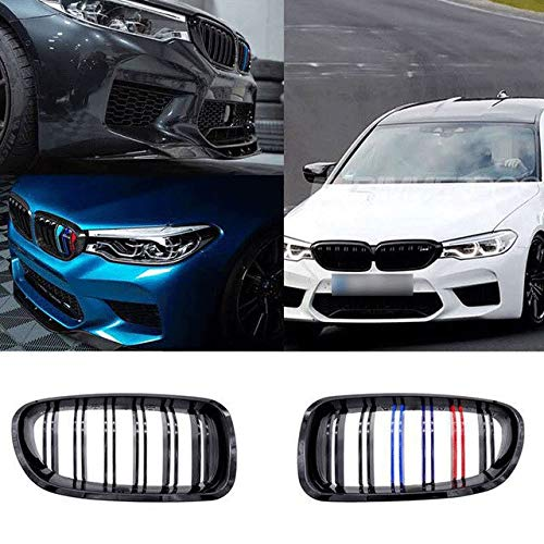 Autorennen-Grills Ierengitter 1 Paar Auto Niere Grill Racing Grille M Farbe Double Line Glanz/Mattschwarz Fit For BMW F10 F11 F18 5er M5 Gloss 2011-2017 (Color : Gloss M color 2 line)