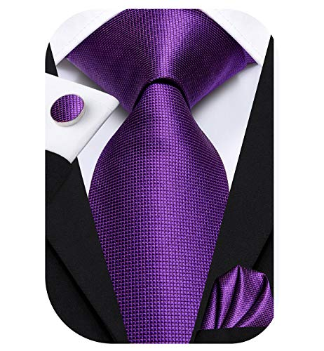 Dubulle Mens Purple Tie and Hanky Woven Silk Necktie Set with Cufflinks