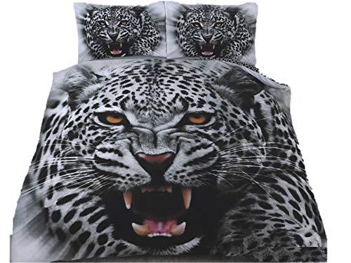 TheWhiteWater Limited Parure de lit réversible avec housse de couette et taies d'oreiller Motif panthère des neiges Blanc