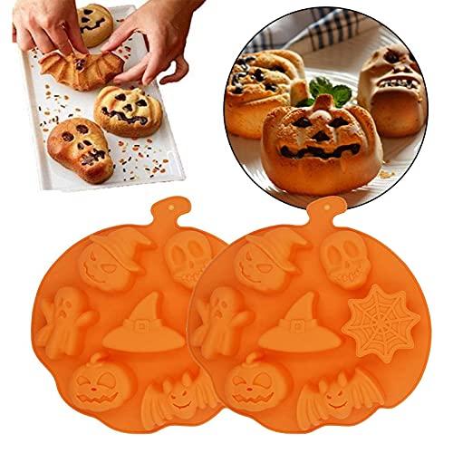 2 Piezas Molde de Silicona Forma de Calabaza para Halloween Calabaza Murciélago Molde de Silicona Molde de Silicona DIY de 6 Cavidades para Jabón Chocolate Pastel Pan Galletas Molde DIY (Redonda)