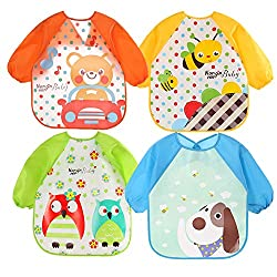 Waterproof bibs, grease-proof, easy to clean you can just wipe off the stains with a towel, and hang dry quickly Suitable to fit 6 to 36 months babies with adjustable tie closure, Length: 41 cm, Bust: 34 cm, Sleeve: 32 cm It features cute and sweet p...
