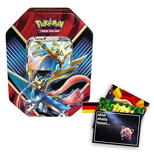 Lively Moments Pokemon Karten Tin Box SCSH01 Schwert und Schild mit Zacian V Sammelkartenspiel Deutsch DE / Metallbox + Exklusive GRATIS Grußkarte