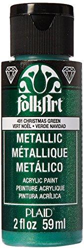 FolkArt Metallic Acrylic Paint in Assorted Colors (2 oz), 491, Christmas Green