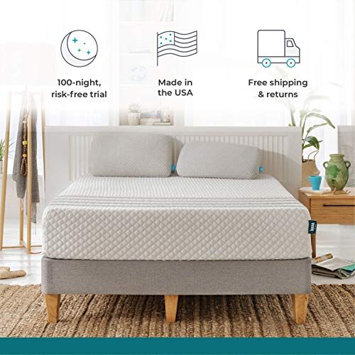 "Leesa Hybrid Mattress, Luxury Hybrid 11"" Mattress in a Box, CertiPUR-US Certified 3 Layer Spring/Memory Foam Construction, Queen, White & Gray"