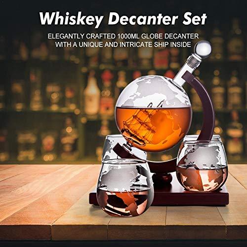lembrd Globe karaf set – whisky karaf met 4 glazen likeurdispenser met houten standaard voor Scotch Bourbon