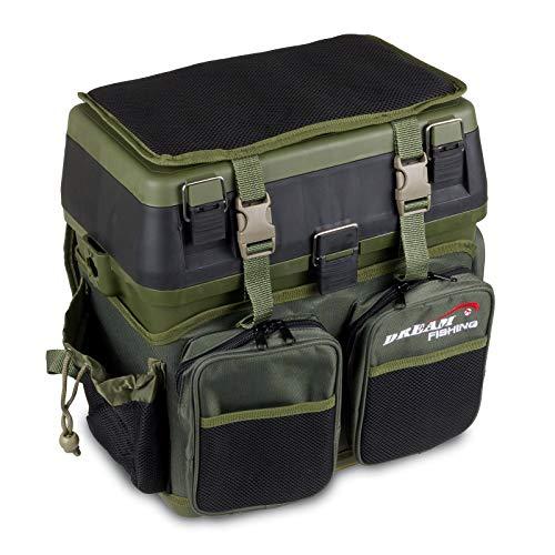 PrachtfischDeluxe Sitzkiepe Angelzubehör-Box inkl. Rucksack-Tasche mit Sitzpolster