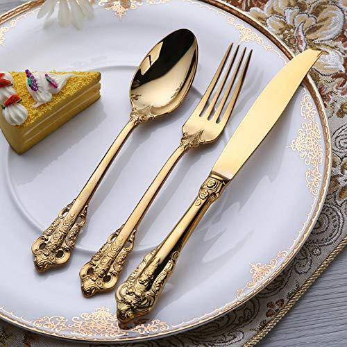 Miminuo Besteck Set,Palace Series Titan 304 Edelstahl Messer Gabel Löffel 16/24 Western Geschirr Besteck Geschenkset-Gold 24PCS