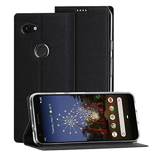 Eastcoo Google Pixel 3A Hülle,Pixel 3A Wallet Handyhülle PU Leder Flip Hülle Tasche Cover Schutzhülle mit [Standfunktion][Magnetic Closure][Card Slots] für Google Pixel 3A Smartphone(Pixel 3A,schwarz)