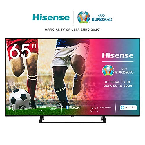 Hisense 65AE7200F 164cm (65 Zoll) Fernseher (4K Ultra HD, HDR, Triple Tuner DVB-C/S/S2/T/T2, Smart-TV, Mittelstandfuß, Frameless, Bluetooth, Alexa) [Modelljahr 2020]