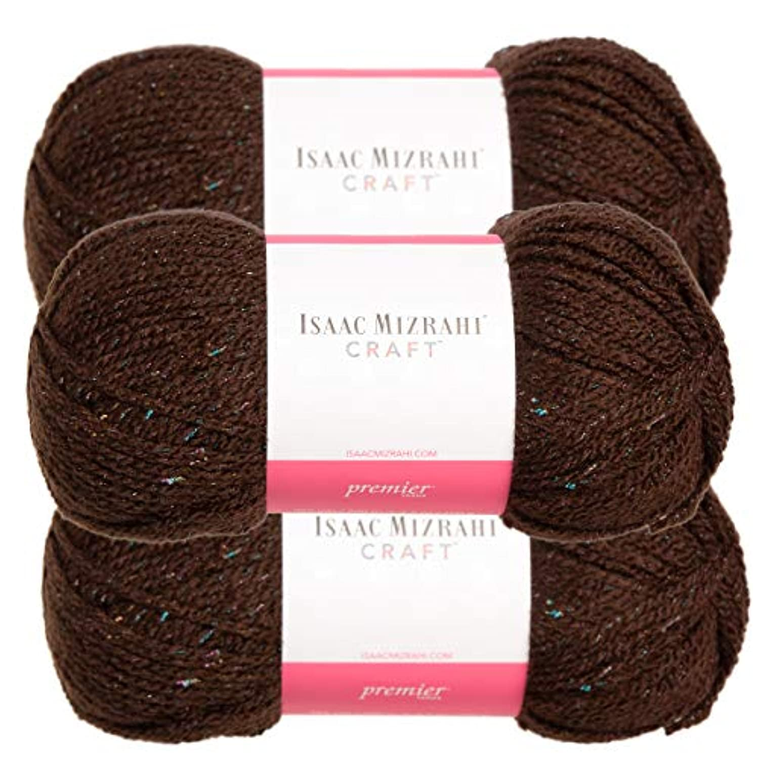 Premium Yarns (3 Pack Isaac Mizrahi Broadway Acrylic Soft Palace Brown Yarn for Knitting Crocheting #4 Medium