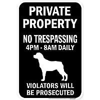 PRIVATE PROPERTY ブラックマグネットサイン:ロットワイラー シルエット 英語 私有地 無断立入禁止