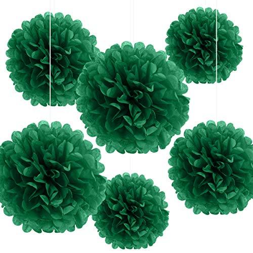 종이 폼 매달기 종이 꽃볼 웨딩 파티 기념 파티 파티 파티 생일 파티용 야외 장식 꽃 공예품(깊은 녹색 6PC)
