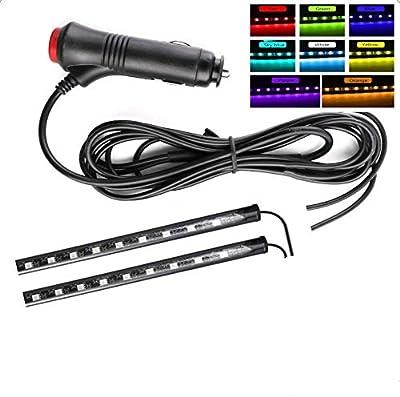 Car Led Strip Lights,Interior Car Lights,2pcs12LED Car Decoration Lights Strips For Car Ambient Light Interior Lighting (Sky blue)