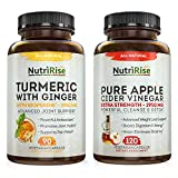 Apple Cider Vinegar Capsules + Turmeric with Ginger & BioPerine: Powerful Combo for Metabolic Support & Digestive Health, Energy, Weight Loss, Detox & Cleanse for Women & Men, Gluten Free, Non-GMO