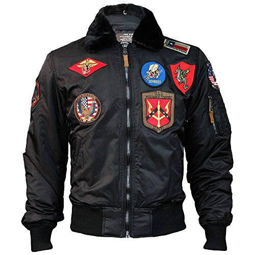 Top Gun Official B 15 Mens Flight Bomber Jacket with Patches Black