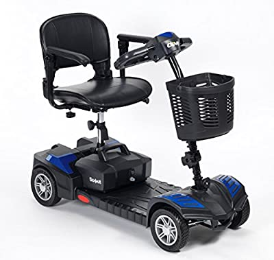 Drive DeVilbiss Scout Venture Scooter 4 Wheel Drive – Lightweight Folding Power Scooter – Motorized Mobility Scooter for Adults (Blue)