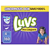 Diapers Size 4, 160 Count - Luvs Ultra Leakguards Disposable Baby Diapers, ONE MONTH SUPPLY (Packaging May Vary)