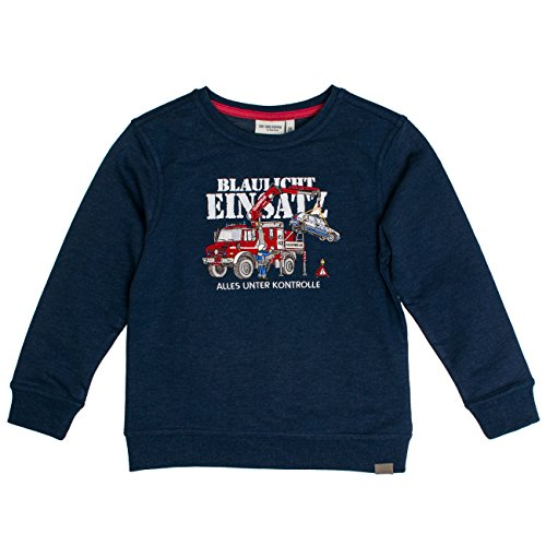 Salt & Pepper Jungen Sweat Fire Uni Stick Sweatshirt, Blau (Ink Blue Melange 481), 128 (Herstellergröße: 128/134)