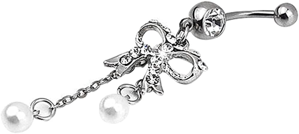 Gsdviyh36 Body Piercing Jewelry,Women Butterfly Dangle Ball Button Barbell Bar Body Piercing Belly Navel Ring Perfect a Jewelry Gift Nose Ear Lip Belly Button Decor