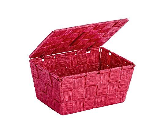 WENKO 22202100 Aufbewahrungskorb mit Deckel Adria Rot - Badkorb,  Polypropylen,  19 x 10 x 14 cm