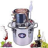 Seeutek 5 Gallon 18L Copper Tube Moonshine Still Spirits Kit Water Alcohol Distiller Home Brew Wine Making Kit Stainless Steel Oil Boiler