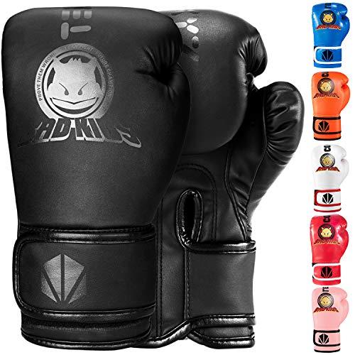 TEKXYZ Kinder Boxhandschuhe Bad Kids Serie Schwarz 4 OZ-Kunstleder Kinder Boxtrainingshandschuhe mit lebendiger Farbe für Jungen und Mädchen im Alter von 3 bis 12 Jahren