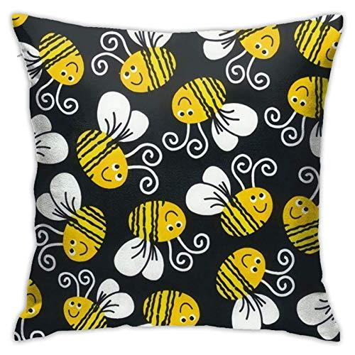 AEMAPE Cute Bumble Bee Fundas de Almohada Fundas de cojín de poliéster Fundas de Almohada Fundas de Almohada Sofá Decoración del hogar, 18x18in