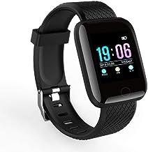 LMDZSW Nuevo Reloj Inteligente Ip68 Actividad de Ritmo cardíaco a Prueba de Agua Fitness Racker Bluetooth Smartwatch para iPhone Android Teléfono 42 Negro